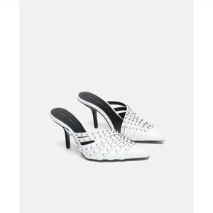 Zara White High Heeled Studded Mule Size 10